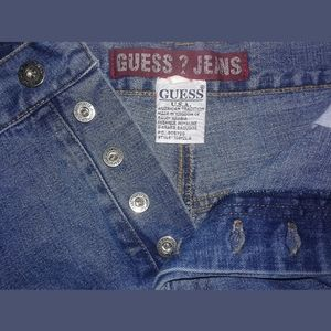 """Button Fly Guess High 12"""" Rise Mid-Wash Blue Jeans"""